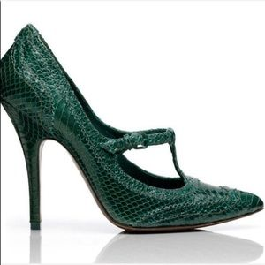 Tory Burch Pumps Green Everly Snake Print Size 6.5